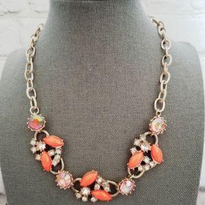 Ann Taylor Orange Gemstone Statement Necklace